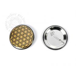 Květ života - odznak, zlatá na černém pozadí – 5 cm