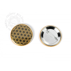 Květ života - odznak, černá na zlatém pozadí – 5 cm