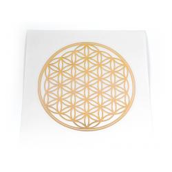 Květ života – nálepka zlatá průhledná – 14 cm