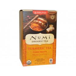 Numi čaj bio kurkumový Three Roots se zázvorem, lékořicí a růžovými poupaty, 12 sáčků