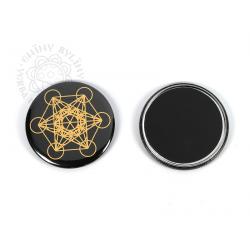Květ života - Metatron – magnetka, zlatá na černém pozadí – 5,5 cm