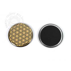 Květ života - magnetka, zlatá na černém pozadí – 5,5 cm