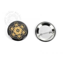 Květ života - Metatron - odznak, zlatá na černém pozadí – 5 cm