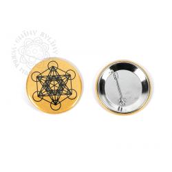 Květ života - Metatron - odznak, černá na zlatém pozadí – 5 cm