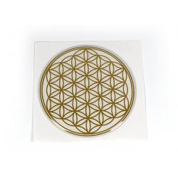 Květ života – nálepka zlatá na bílém pozadí 3D – 5 cm
