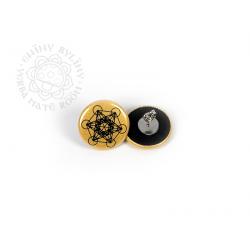 Květ života - Metatron – náušnice, zlatá na černém pozadí