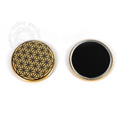 Květ života - magnetka, černá na zlatém pozadí – 5,5 cm
