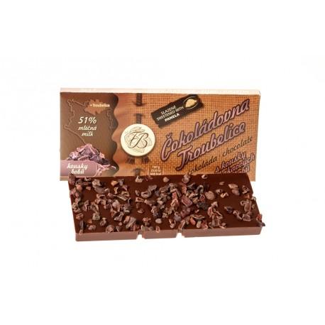 Čokoláda mléčná 51% s kousky kakaových bobů, 45 g