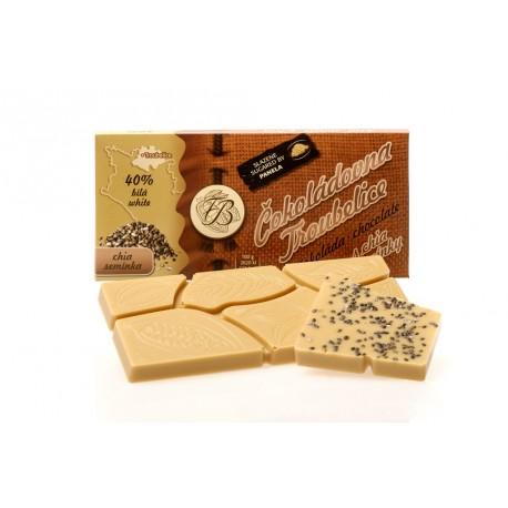 Čokoláda bílá 40% s CHIA SEMÍNKY, 45g
