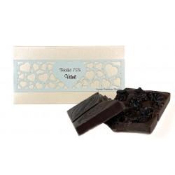 Hořká čokoláda 75% s višněmi, 55 g, perleťová krabička